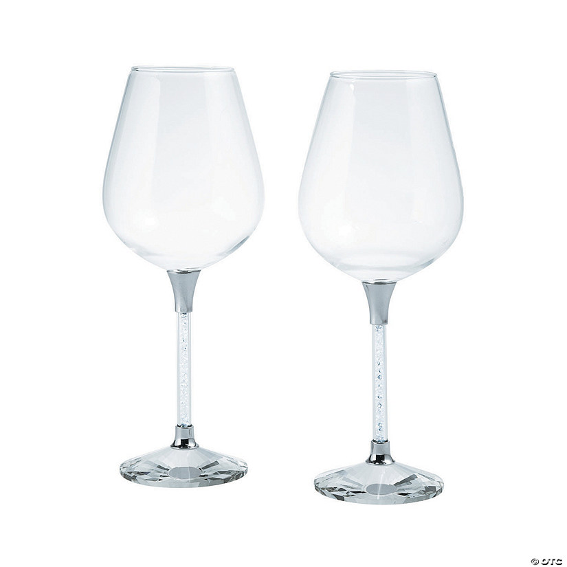 Silver Rhinestone Stem Wine Glasses