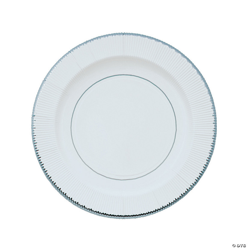 Silver Rimmed Paper Dinner Plates