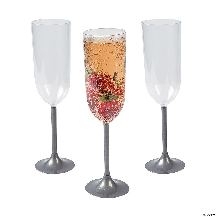 Silver Stem Champagne Glasses