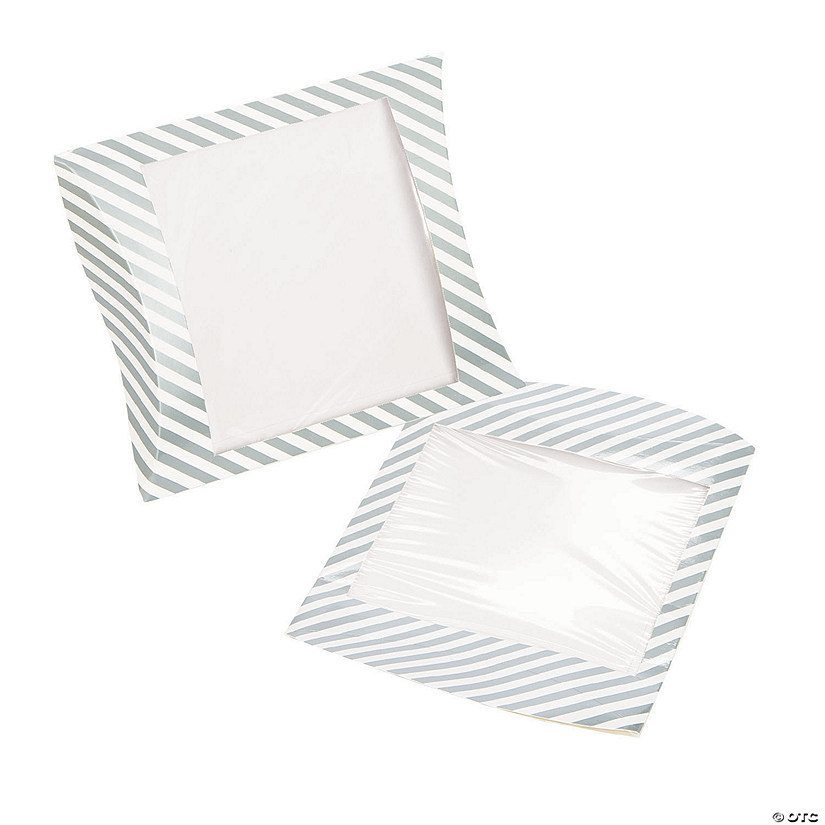 Silver Stripe Pillow Boxes with Window Image Thumbnail