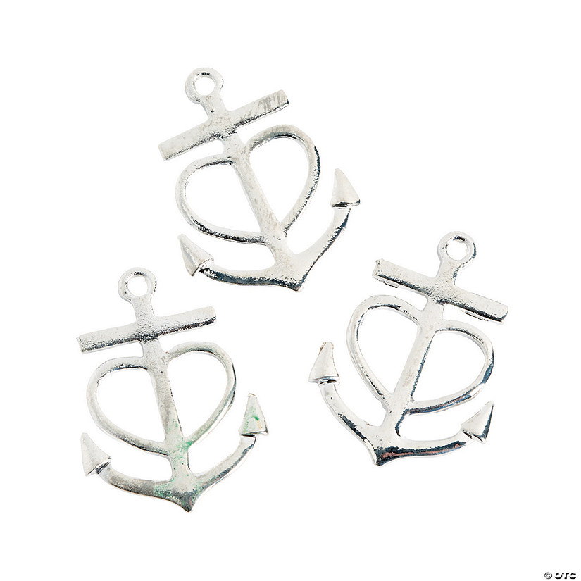 Silvertone Anchor Heart Charms