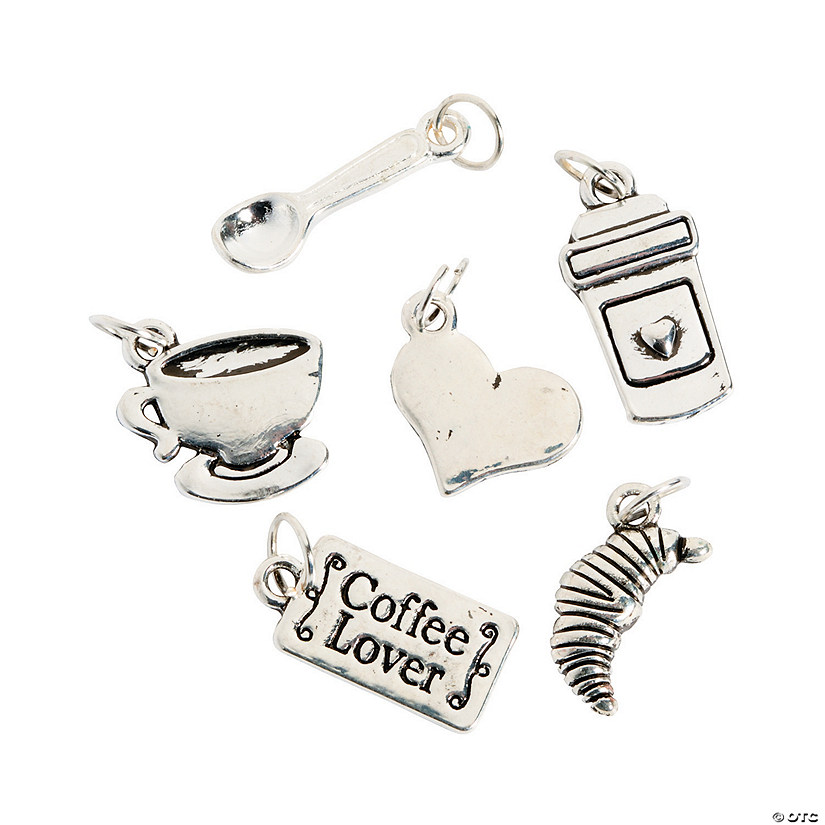 Silvertone Coffee Lovers Charms