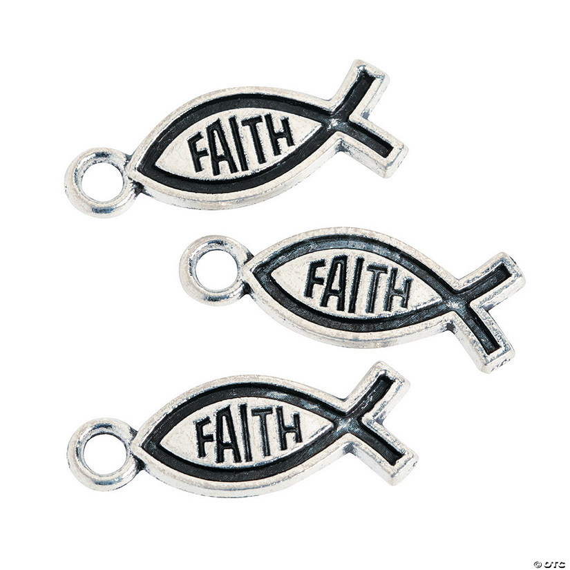 Silvertone Faith Fish Charms