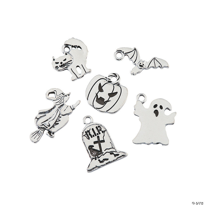 Silvertone Halloween Charm Assortment