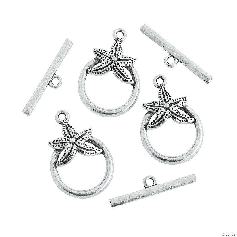 Silvertone Starfish Toggle Clasps