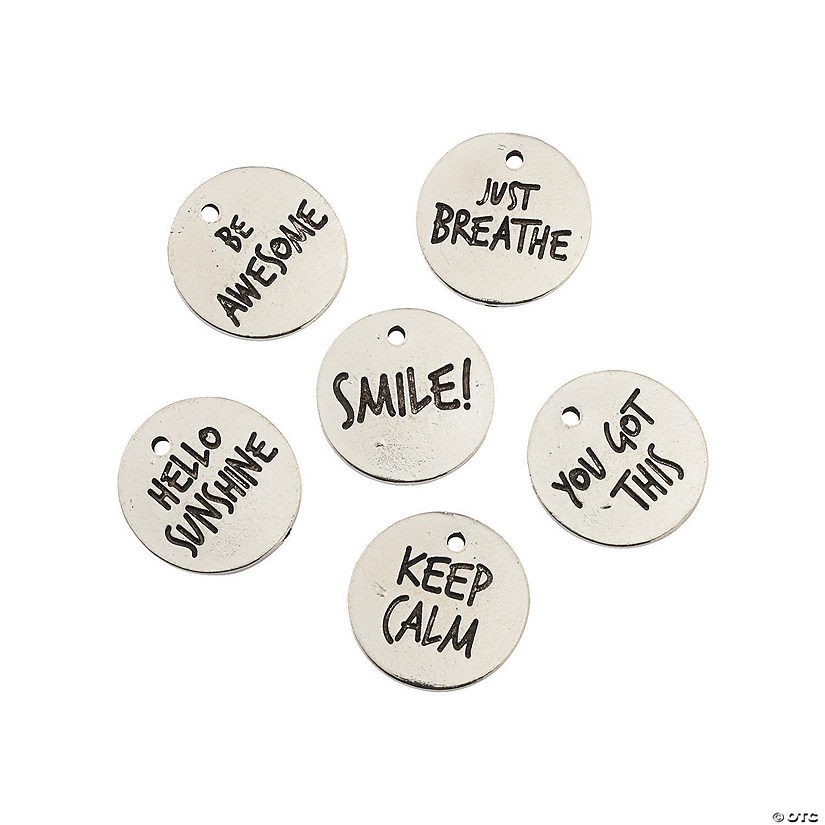 Silvertone Words to Live By Charms