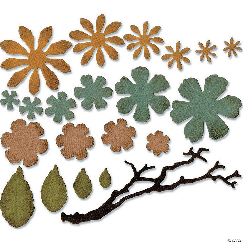 Sizzix Thinlits Dies By Tim Holtz 21/Pkg-Small Tattered Florals