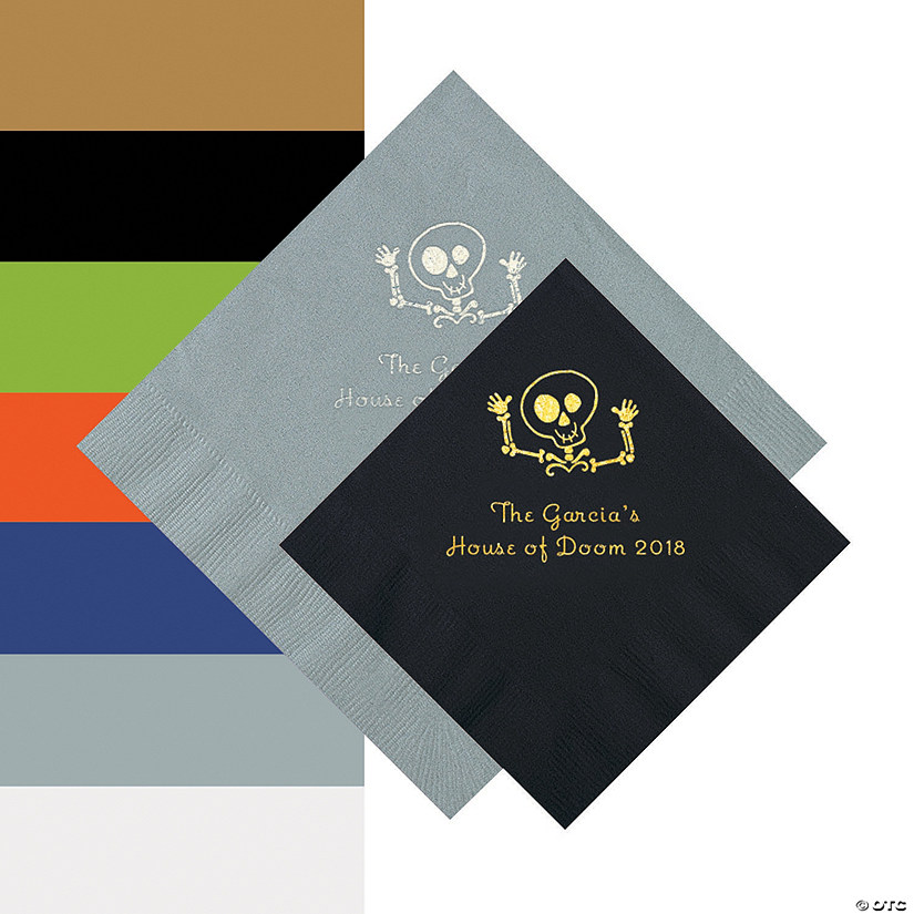 Skeleton Personalized Beverage and Luncheon Napkins Audio Thumbnail