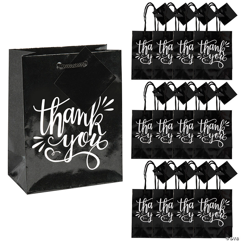 Small Black & White Thank You Gift Bags Audio Thumbnail