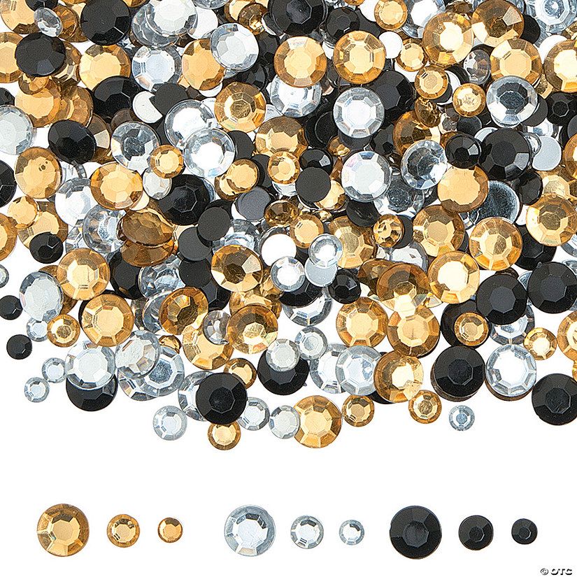 Small Black, Gold & Silver Faceted Gems