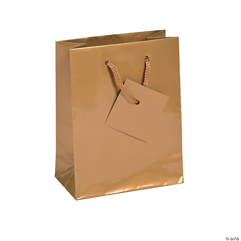 Small Gold Gift Bags with Tags