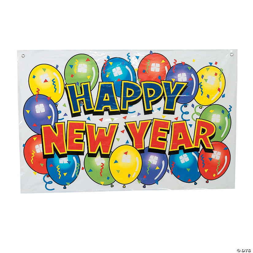 small happy new year bright vinyl banner