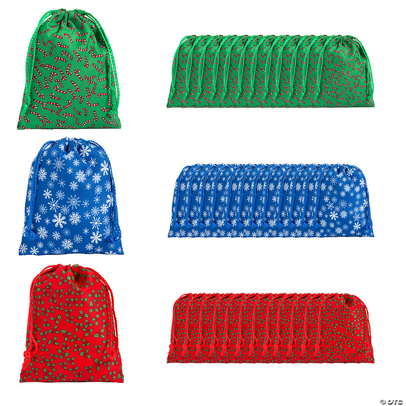 Small Holiday Print Drawstring Bags Audio Thumbnail