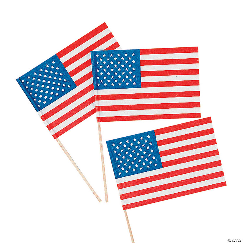 "Small Paper American Flags on Sticks - 4 1/2"" x 3"""
