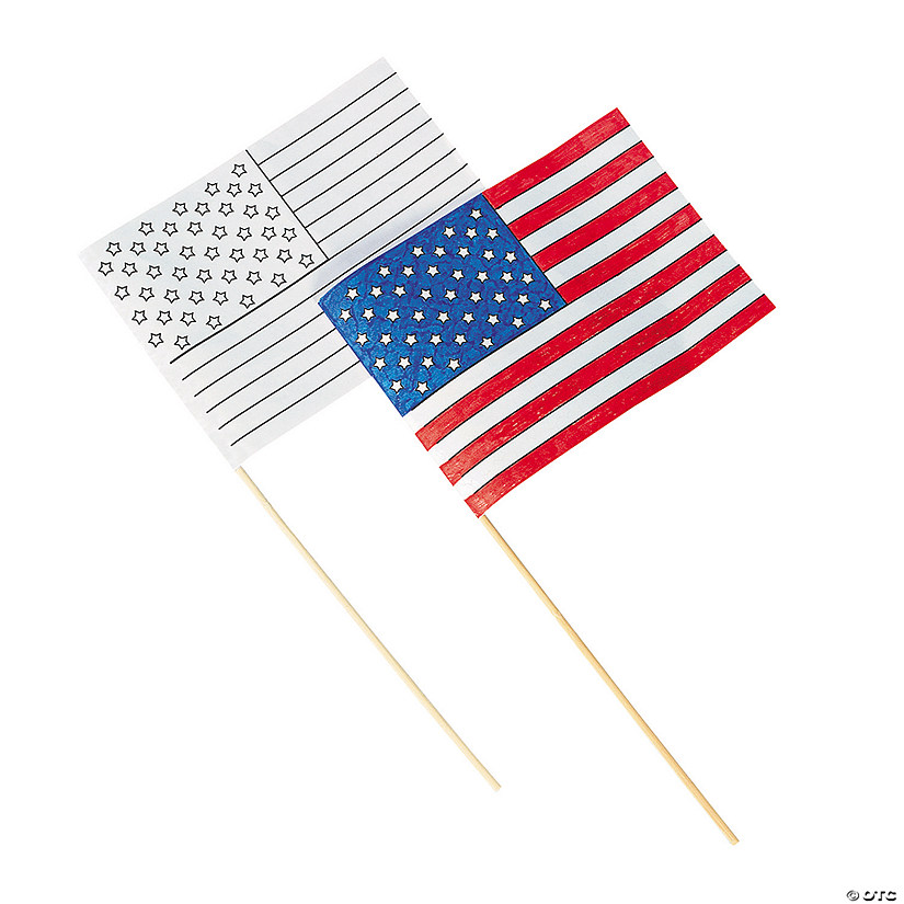 Small Paper Color Your Own American Flags