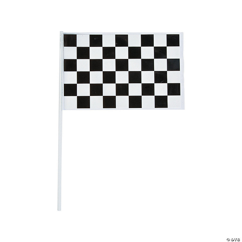 Small Plastic Black White Checkered Flags Oriental Trading