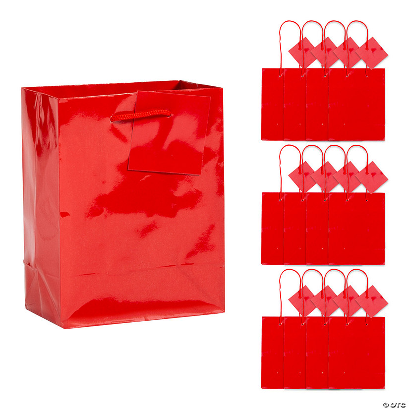 Small Red Gift Bags with Tags Image Thumbnail
