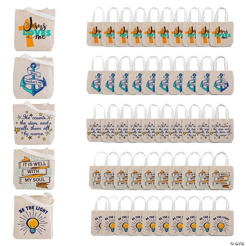 Small Religious Canvas Tote Bag Assortment