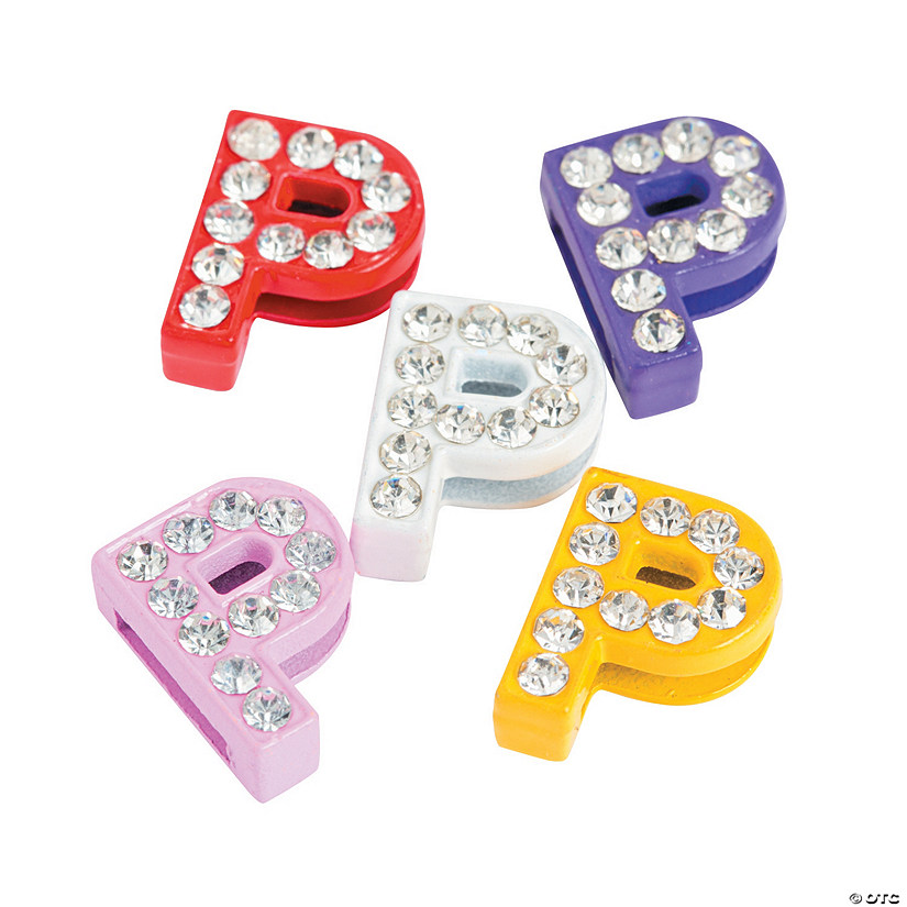 Small Rhinestone Letter Slide Charms - P