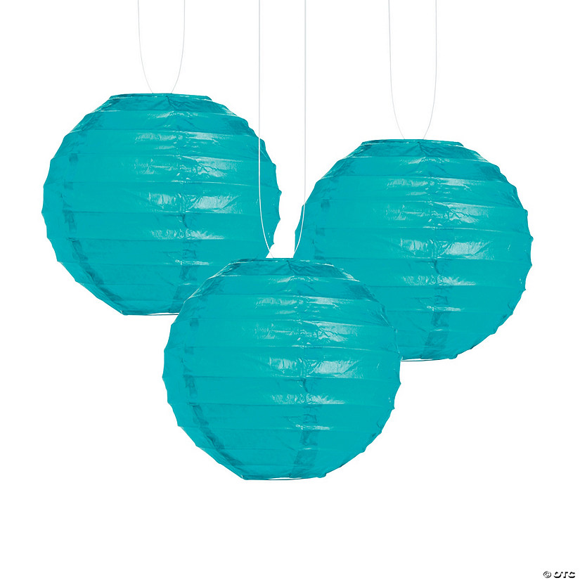 Small Turquoise Hanging Paper Lanterns