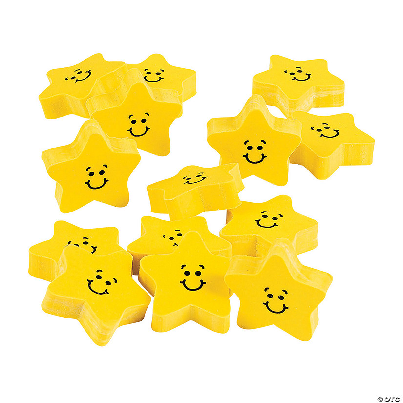 Smile Face Star Erasers - 24 Pc. Audio Thumbnail