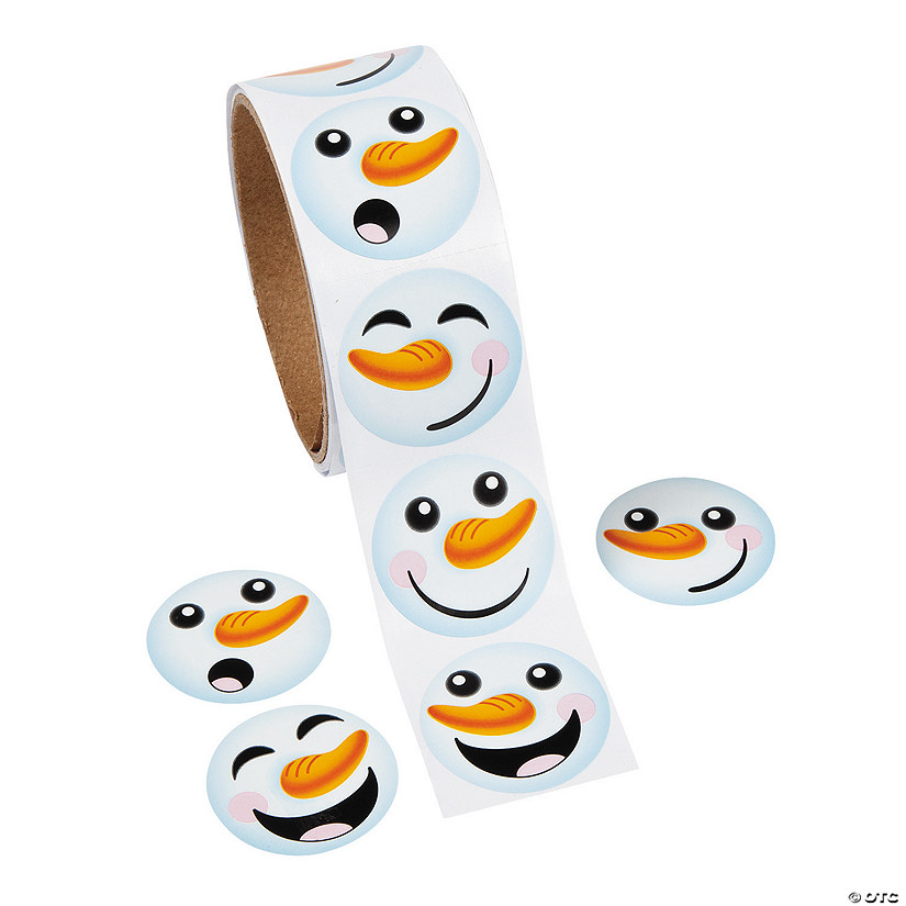 Snowman Face Roll of Stickers