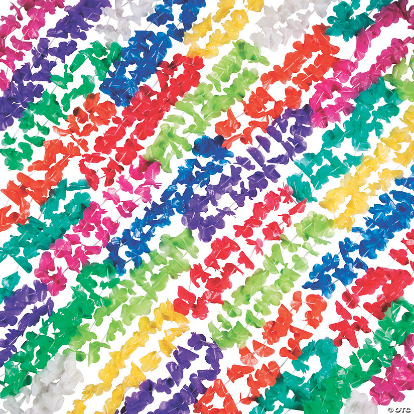 Solid Color Mega Plastic Lei Assortment - 100 Pc. Audio Thumbnail