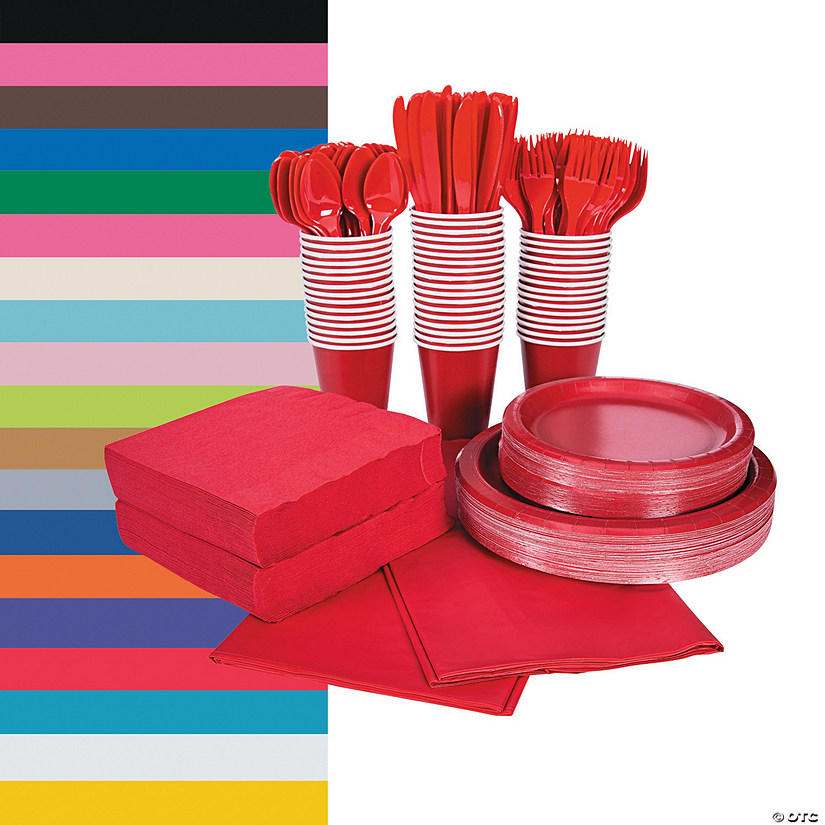 Solid Color Tableware Kits for 48 Guests