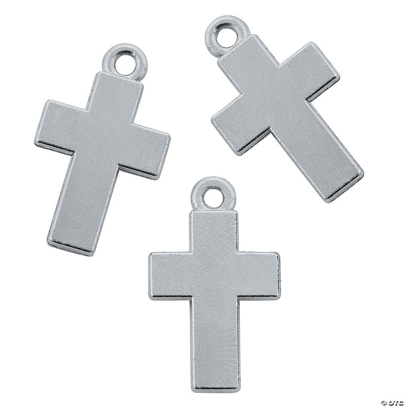 Solid Silvertone Cross Charms - 14mm x 24mm