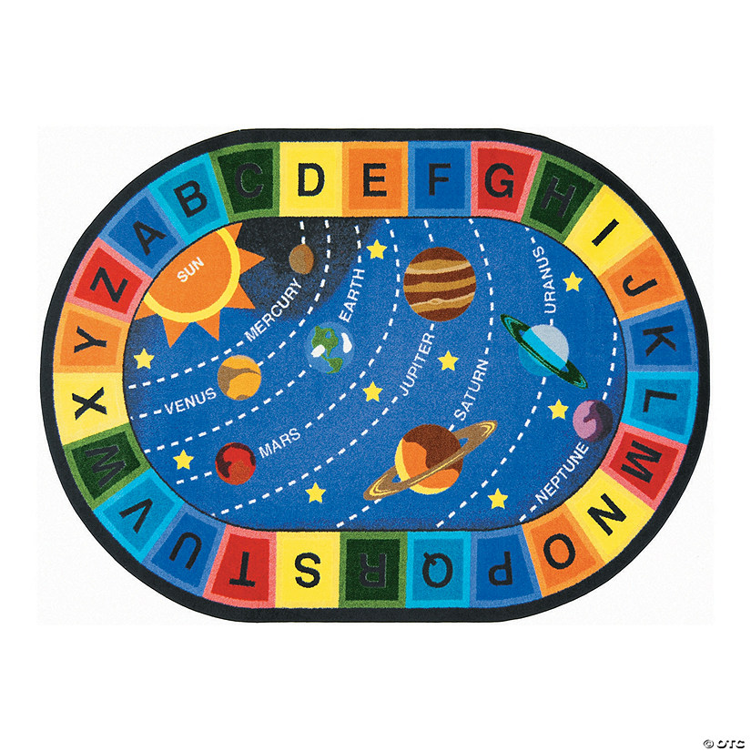"Space Alphabet® Classroom Rug - 5 ft. 4"" x 7 ft. 8"" Oval"