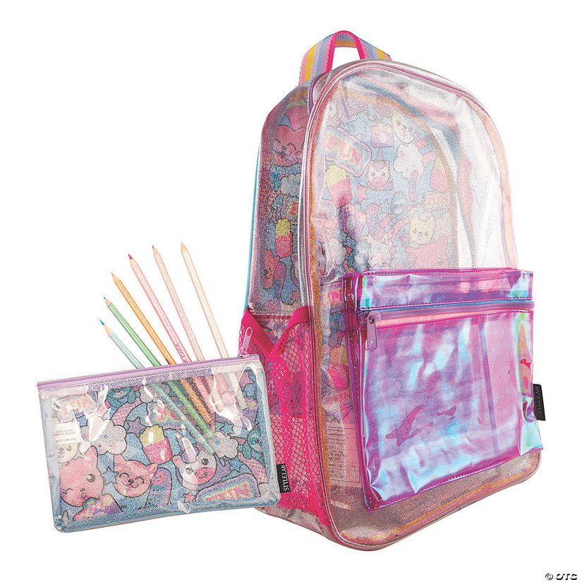 Sparkle Transparent Backpack with BONUS Pouch
