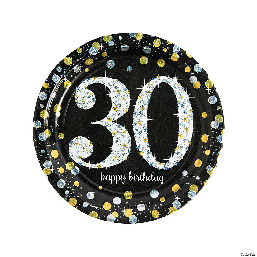Sparkling Celebration 30th Birthday Paper Dinner Plates Audio Thumbnail