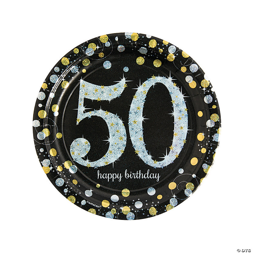 Sparkling Celebration 50th Birthday Paper Dinner Plates