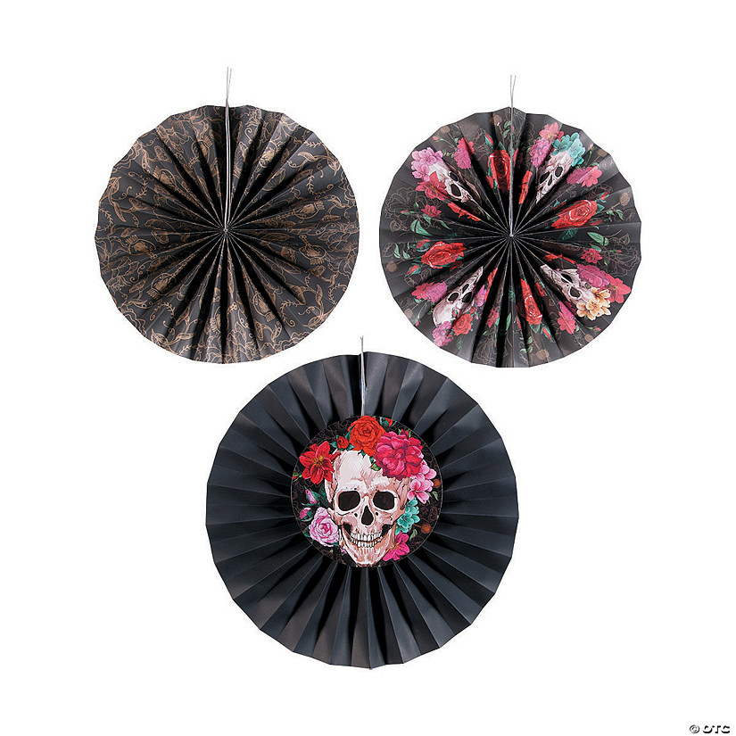 Spooky Floral Tissue Hanging Fan Halloween Decorations Image Thumbnail