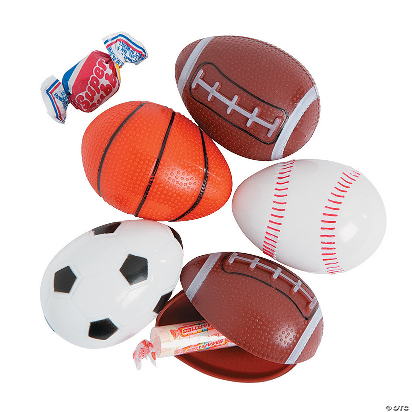 Sports Ball Bee® Candy-Filled Plastic Easter Eggs - 12 Pc. Image Thumbnail