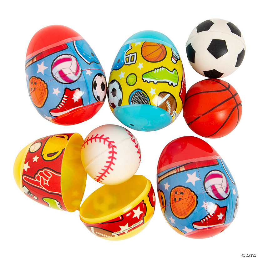 Sports Ball-Filled Plastic Easter Eggs - 12 Pc. Image Thumbnail