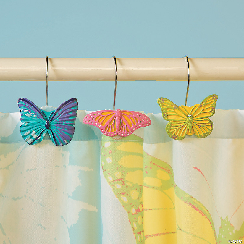 Spring Butterfly Shower Curtain Hooks