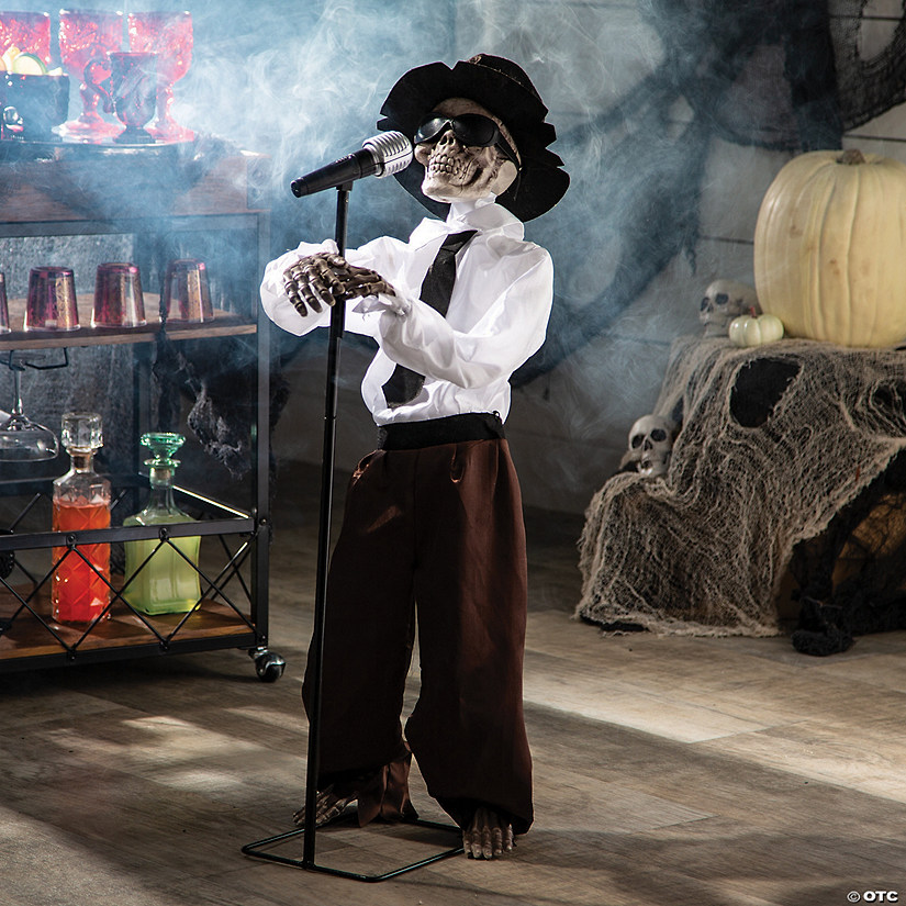 Standing Singing Skeleton Halloween Decoration Image Thumbnail