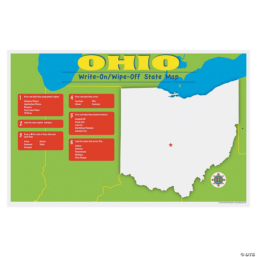 State Write-On/Wipe-Off Desk Mat - Ohio