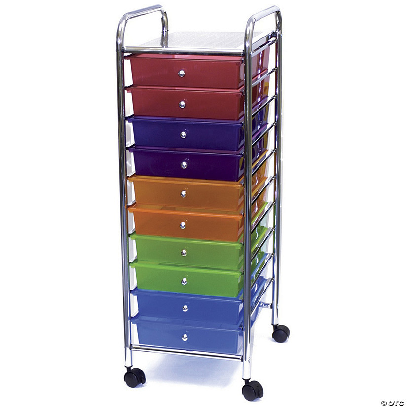 Storage Studios Home Center Rolling Cart W/10 Drawers-Multicolor