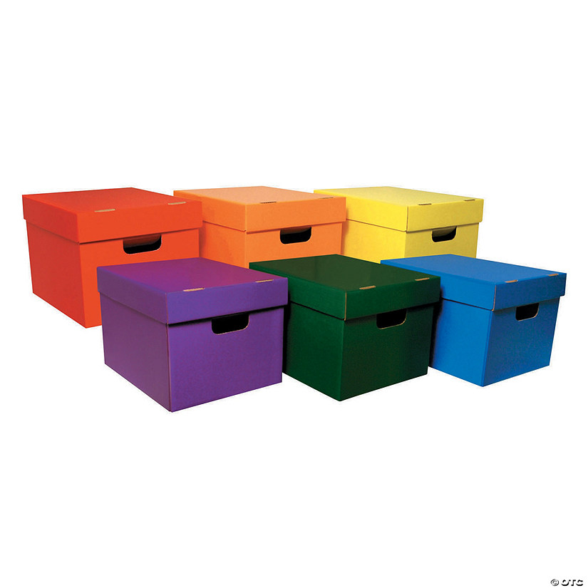 "Storage Totes, 6 Assorted Colors, 10-1/8""H x 12-1/4""W x 15-1/4""D, Pack of 6 Audio Thumbnail"