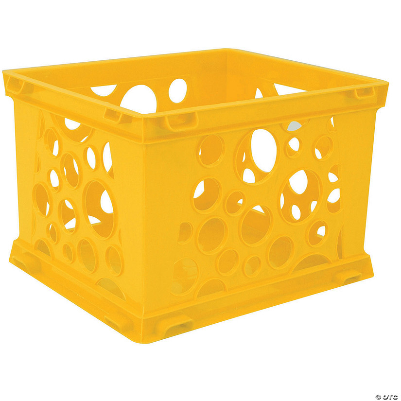 "Storex Mini Crate, Yellow, 9"" x 7.75"" x 6"", Set of 6 Audio Thumbnail"