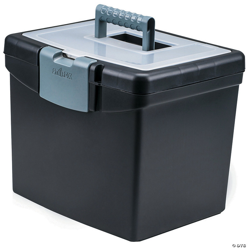 Storex Portable File Box with XL Storage Lid Image Thumbnail