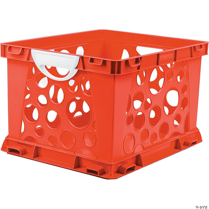 Storex Premium File Crate with Handles, Classroom Red Image Thumbnail