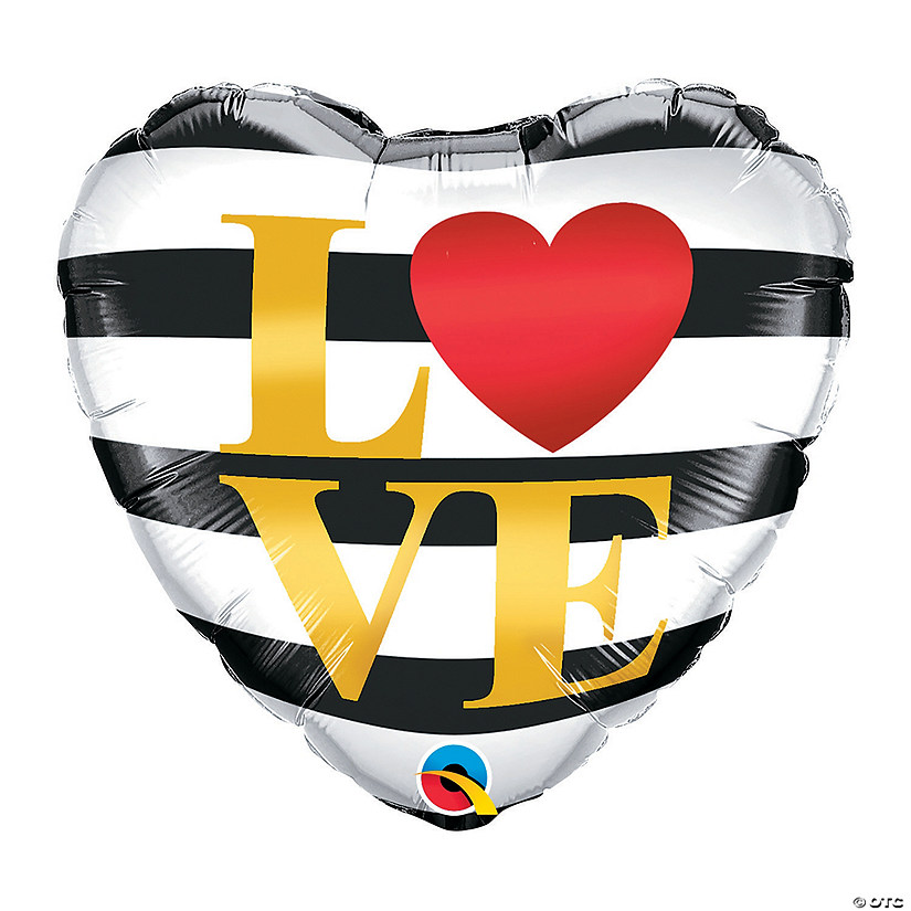 Striped Love Heart-Shaped Mylar Balloon