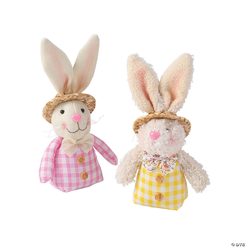 Stuffed Easter Bunny Couple with Hats Tabletop Decoration Image Thumbnail