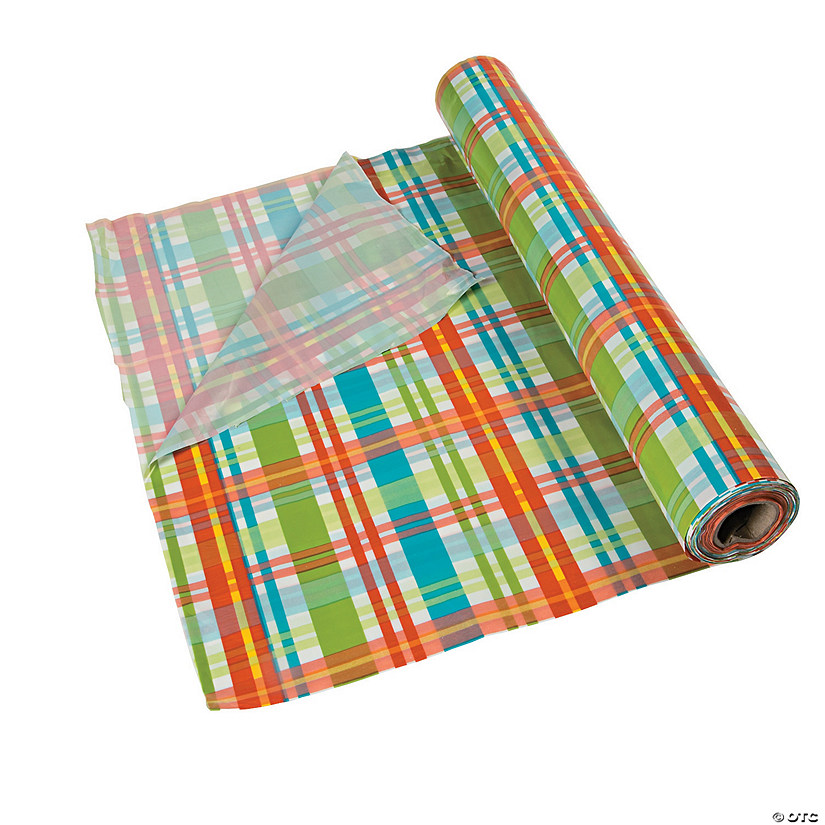 Summer Plaid Plastic Tablecloth Roll