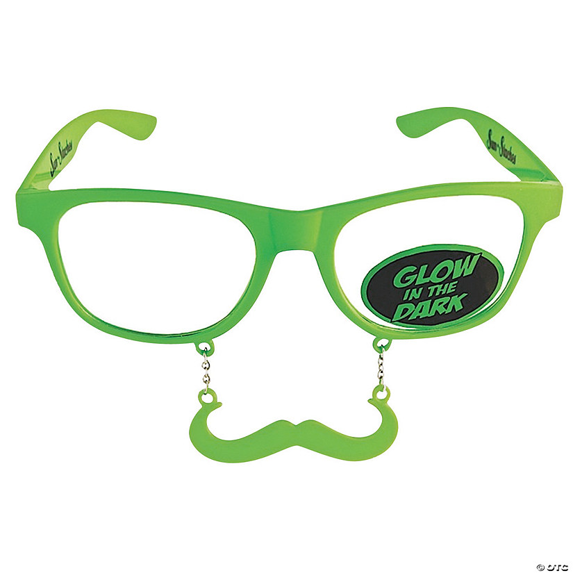 Sun-Stache Glow-in-the-Dark Green Mustache Glasses Image Thumbnail
