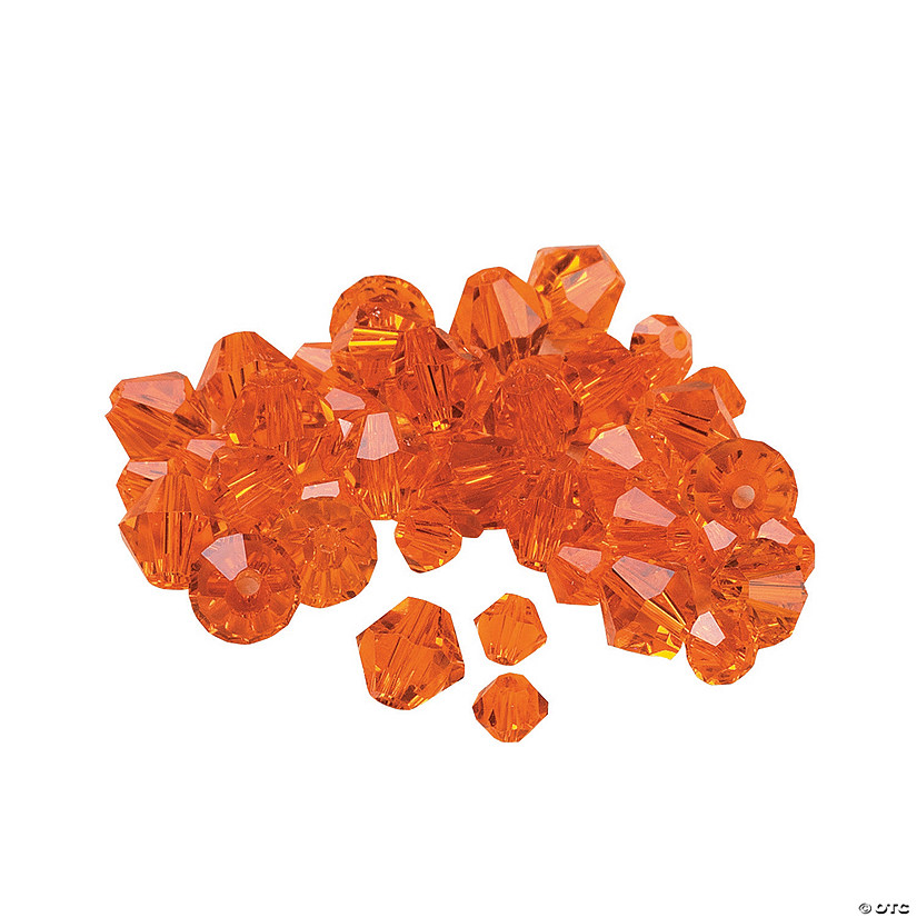 Sunset Orange Cut Glass Crystal Bicone Beads - 4mm-6mm Audio Thumbnail