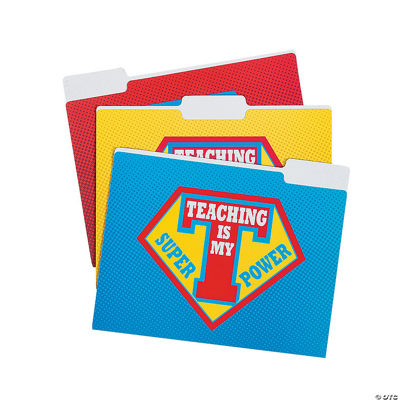 Superhero Teacher File Folders